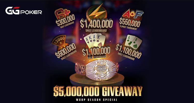GGpoker te espera con US$5.000.000 en tickets WSOP Online 2020